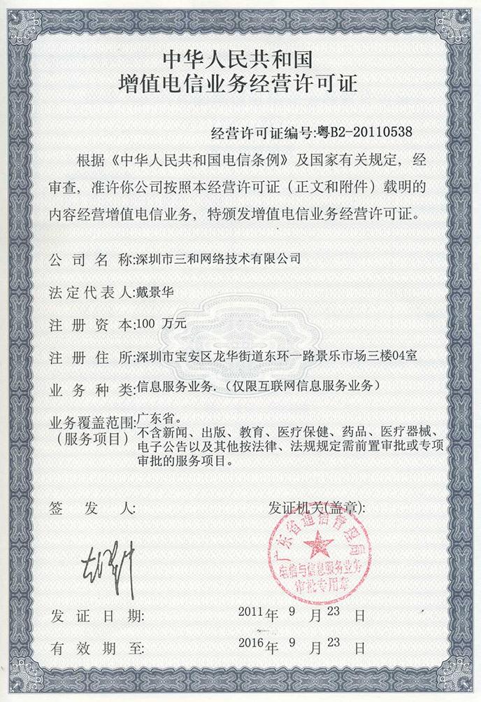 三和招聘网-经营许可证号